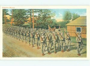 Pre-Linen Military USA ARMY SOLDIERS ON PRACTICE MARCH AC6009