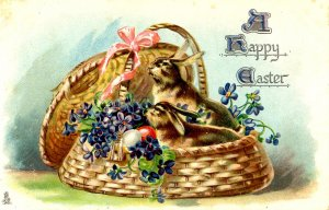 Greeting - Easter. (bunnies in basket, Tuck Series 715)