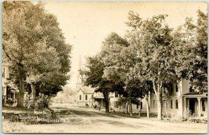 1907 MECHANICSVILLE, Vermont RPPC Real Photo Postcard MAIN STREET Houses Church
