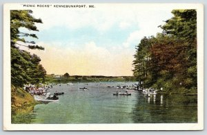 Kennebunkport Maine~Picnic Rocks~Rowboats on Shore~Crowds on Bank~1920s Postcard