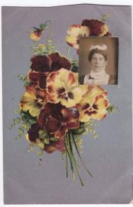 Floral Bouquet W Inset RP Portrait of Maid PPC, Unposted By Clegg of Rawtenstall