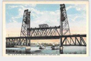 PPC POSTCARD OREGON PORTLAND O.W.R.&N. STEEL BRIDGE WILLAMETTE RIVER