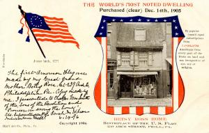 Betsy Ross Home, Philadelphia Purchase Announcement, 1906. **VERY RARE ITEM**