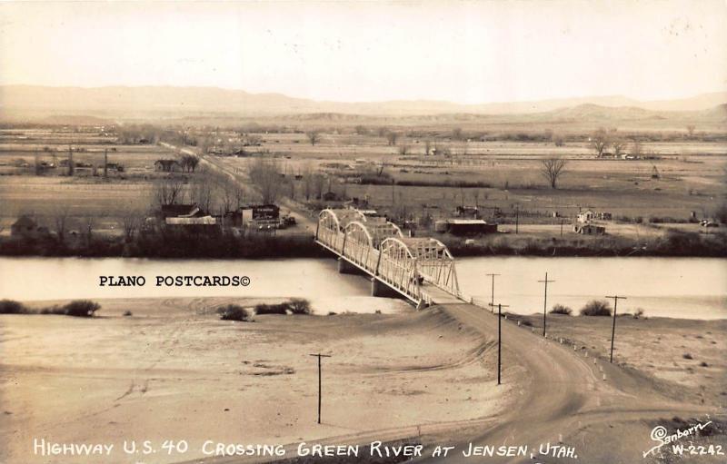 JENSEN, UTAH HWY 40 CROSSING GREEN RIVER AT JENSEN RPPC REAL PHOTO POSTCARD
