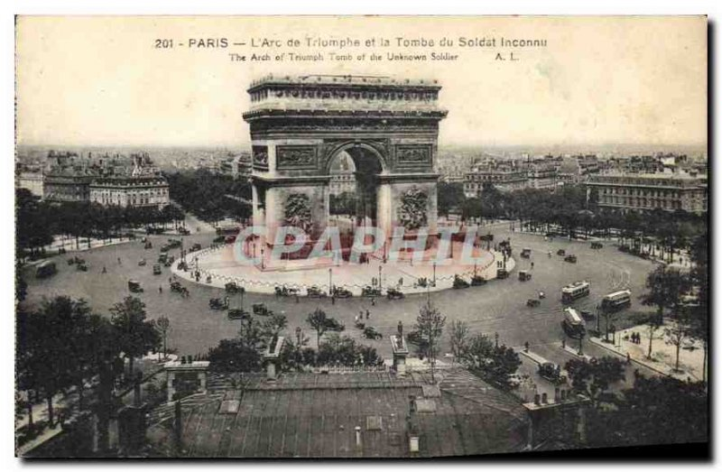Old Postcard Paris Arc de Triomphe and the Tomb of the Unknown Soldier