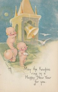Kewpies ; NEW YEAR Bell ringing , 1900-10s , AS Rose O'Neill