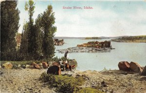 H83/ Snake River Idaho Postcard c1910 People Dog Scenic 58