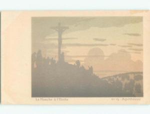 Pre-1907 RELIGIOUS VIEW JESUS ON THE CROSS SILHOUETTE i5349