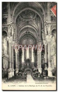 Lyon Old Postcard Interior of the basilica of Our Lady of Fourviere