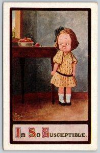 C Ryan~Little Girl Eyes Ripe Apples on Table: I'm So Susceptible~1911 Postcard