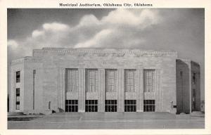 Oklahoma City Oklahoma~Municipal Auditorium~Art Deco~B&W 1940s Postcard