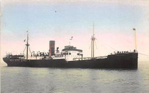 Harmonides Cargo Steam Ship Tinted Real Photo RPPC Postcard