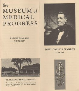 Museum of Medical Progress Vtg Brochure, Prairie du Chien, WI, John C Warren