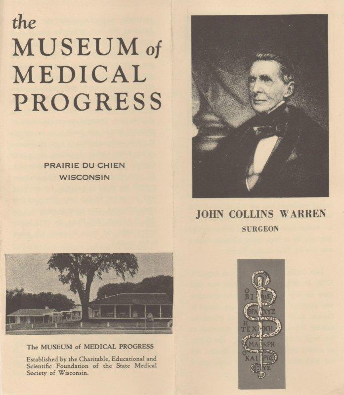 Museum of Medical Progress Vtg Brochure, Prairie du Chien, WI, John C Warren