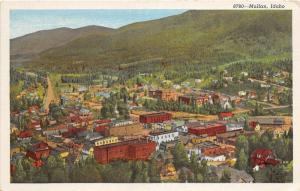 F7/ Mullan Idaho Postcard Linen Birdseye View Homes Stores