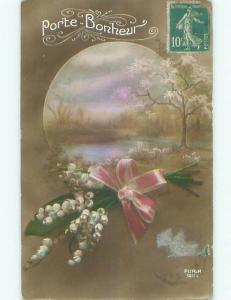 circa 1910 tinted rppc LILY OF THE VALLEY FLOWERS WITH PINK RIBBON o2704