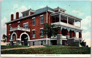 Independence, Kansas Postcard CITY HOSPITAL Building View w/ 1907 KS Cancel