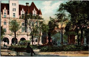 Scene in Rice Park, St. Paul Minnesota Vintage Postcard M16