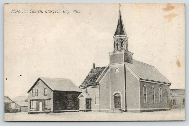 Sturgeon Bay Wisconsin~Moravian Church~Parsonage? Neighboring Houses~1912 PC