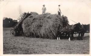 D86/ Occupational RPPC Real Photo Postcard c1910 Farmer Hay Wagon Horses 10