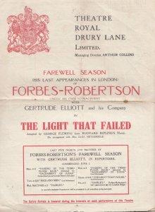 The Light That Failed Forbes Robertson Military Rudyard Kipling Theatre Progr...