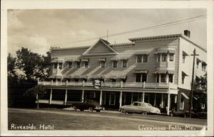 Livermore Falls ME Riverside Hotel & Cars c1950s-60s Real Photo Postcard