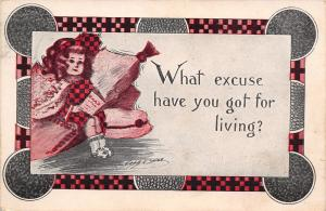 Cobb Shinn~Girl on Pillows~What Excuse Have You Got for Living?~1913 Postcard