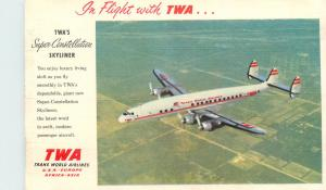 In Flight with TWA Trans World Airlines super constellation skyliner plane