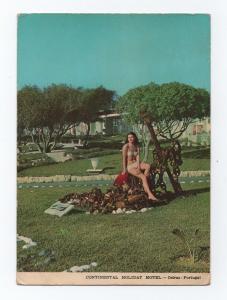 1960years pin up  bathing beauty bikini girl girls pinups Motel advert postcard