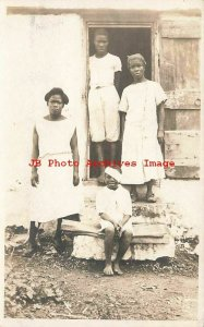 Back Americana, RPPC, Mother & Children on the Steps of their Home