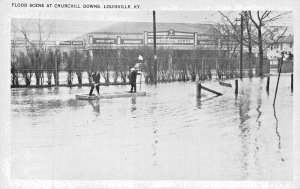 LOUISVILLE KY~FLOOD SCENE-CHURCHILL DOWNS~POSTCARD
