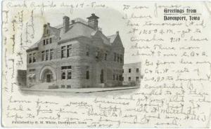 UND/B Post Office, Greetings from Davenport Iowa 1906