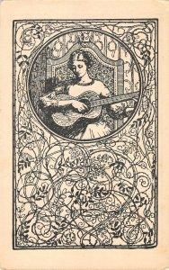 US3520 Woman Playing Guitar Sketch Postcard Fantasy Art nouveau oranienburg