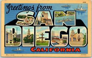 Vintage SAN DIEGO California Large Letter Postcard Battleships Navy 1940 Cancel