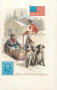 Mail in US ( La Poste Etats Unis ) postman flag stamp chromo litho postcard