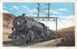 ECHO CANYON UT~UNION PACIFIC SYSTEM LIMITED TRAIN~LOCOMOTIVE 7038 POSTCARD 1920s