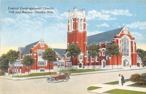 Omaha Nebraska~Central Congregartional Church~Tower Now Gone 1920s PC