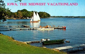 Iowa Vacationland Of The Midwest Lake Scene
