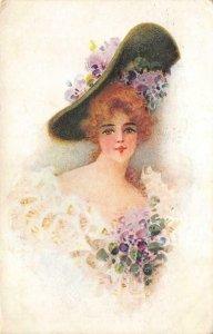 Edwardian Woman Flowers Hat Painting Artist-Signed 1907 Vintage Postcard