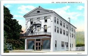 Waynesville, North Carolina Postcard HOTEL LEFAINE Street View c1930s Unused