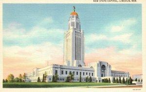 Lincoln, Nebraska, NE, New State Capitol, 1935 Linen Vintage Postcard g8485