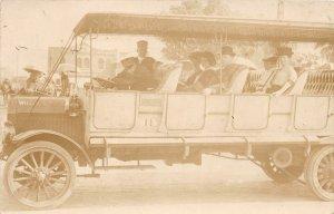 H33/ Los Angeles California Postcard RPPC c1910 Wilcox Auto Tour Bus