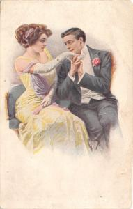 F Kuderny~Elegant Couple~First Conception of Love~Gent Kisses Lady Hand~Russian