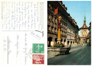 SWITZERLAND Postcard Bern, Marksman Fountain & Prison Tower (A14)