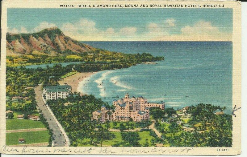 Honolulu, Waikiki Beach, Diamond Head, Moana and Royal Hawaiian Hotels