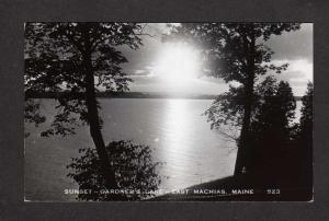 ME Sunset Gardner's Lake East Machias Maine Real Photo Postcard RPPC,
