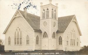 Gifford Missouri~Christian Church~1910 Real Photo Postcard PC