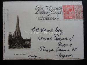 Yorkshire ROTHERHAM Parish Church & Ruins c1931 Lettercard by Photochrom