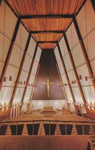 Interior showing crucifix, Sacred Heart Catholic Church, Prince George, Briti...