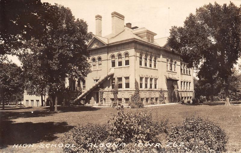 Algona IA Old High School~w/Fire Escape Tube on This Side~Hedge Bed 1928 RPPC